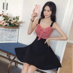 Sexy Low-Cut Sling Plaid Tube Top Leaning Bow Dress
