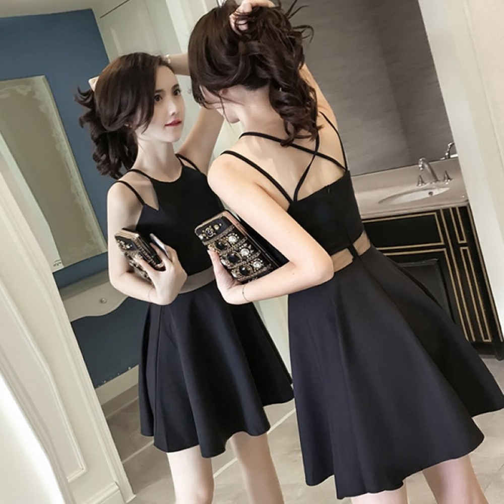 Open back sexy slim nightclub sexy strap dress