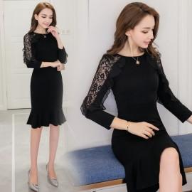 image of Mid-length bag hip skirt black slim knit fishtail lace dress