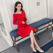 image of Elegant and sleek Hepburn collar dress