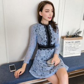 image of Fashion waist slim long-sleeved temperament ladies lace dress