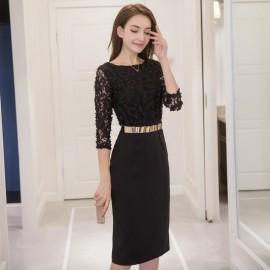 image of Stylish slim split hip hip long lace dress