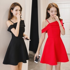 image of Sexy slim off-the-shoulder strap dress