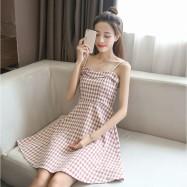 image of Waist slim strap plaid sleeveless dress