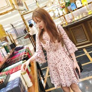 image of Floral high waist V-neck chiffon dress