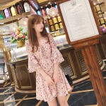 Floral high waist V-neck chiffon dress