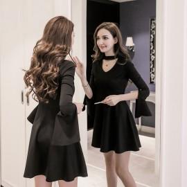 image of Slim-fit slim neckline V-neck short dress