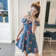 image of Floral waist ruffled sling off-shoulder denim dress