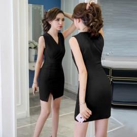 image of Sexy split sleeveless V-neck bag hip dress