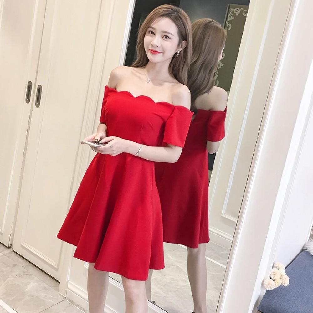 High waist slim sexy one-shoulder strapless dress