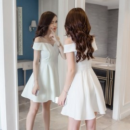 image of Sexy perspective mesh splicing backless fluffy white off-shoulder dress