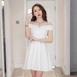 Sexy perspective mesh splicing backless fluffy white off-shoulder dress