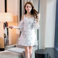 image of Open back high waist slim sexy sling strapless feather tassel dress