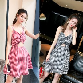 image of Sexy sling V-neck wrapped chest bow backless plaid slim dress