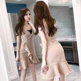 image of Sexy temperament V-neck ruffled irregular strap dress