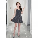 Black and white vertical striped sling sexy V-neck halter high waist dress