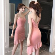 image of Sexy V-neck low-cut tight-fitting hip strap dress