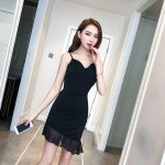 Sexy V-neck low-cut tight-fitting hip strap dress