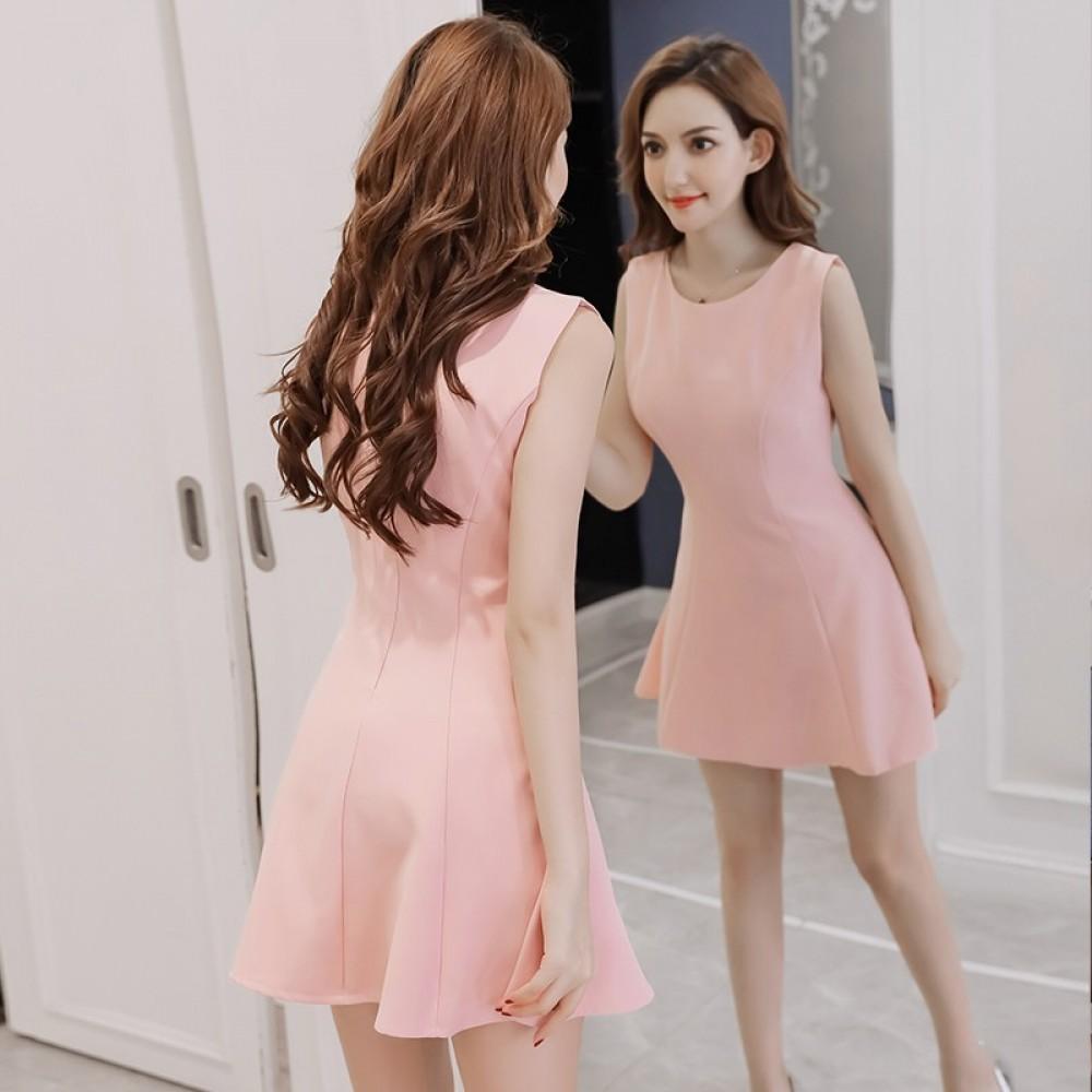 Short A-line slim solid color sleeveless vest chiffon dress