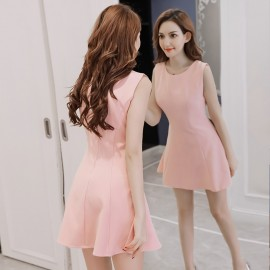 image of Short A-line slim solid color sleeveless vest chiffon dress