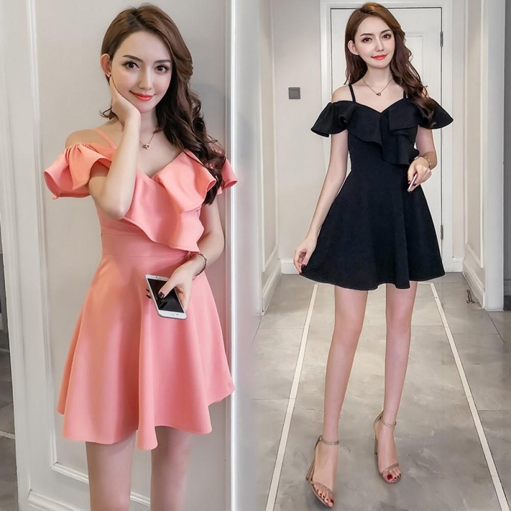 Off-shoulder V-neck sling A-line dress