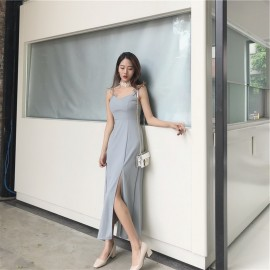 image of V-neck halter tube top high waist strap slit dress maxi dress