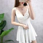 Low-cut sexy sling large size slim dress