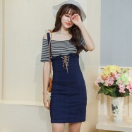 image of Lace-up denim strap dress with sets