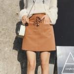 High waist bag hip deer velvet a short skirt