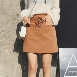 image of High waist bag hip deer velvet a short skirt