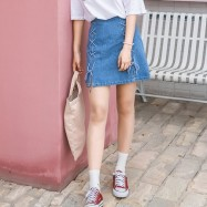 image of Skgirl port wind personality straps skirt skirt hip A word skirt denim skirt