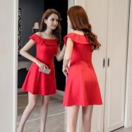image of Off shoulder shoulders ruffled a-line waist dress