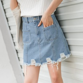 image of Worn high waist denim a word bag hip skirt
