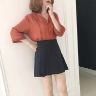 image of Solid color pleated high waist A word half body short skirt