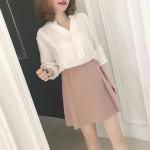 Solid color pleated high waist A word half body short skirt