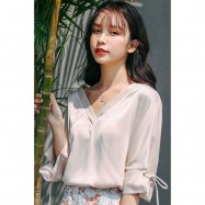 image of V-neck mid-sleeve with short-sleeved chiffon top