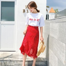 image of Polka dot fishtail irregular high waist ruffle A word skirt