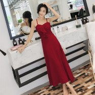 image of Ruffled sling high waist long A-line dress long skirt