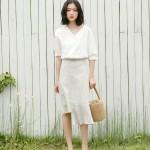 Irregular ruffled plaid chiffon A-line skirt