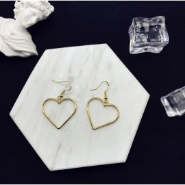image of Openwork geometric heart sweet golden love earrings
