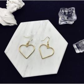 image of Openwork geometric heart sweet golden love earrings