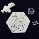Openwork geometric heart sweet golden love earrings