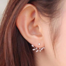 image of Korean Fashion Rhinestone Leaves Branches Earrings Ear Jacket