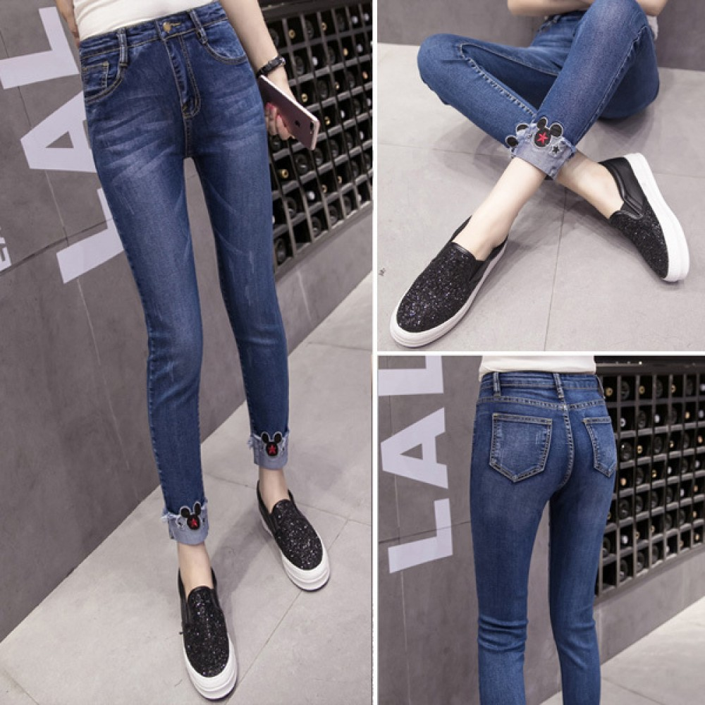【PRE-ORDER】 Large Size Elastic Jeans Mickey Head Paste Cloth Feet Pants