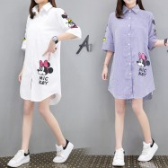 image of 【PRE-ORDER】Large Size Fat MM Long Paragraph Loose Cartoon Mickey Shirt