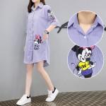 【PRE-ORDER】Large Size Fat MM Long Paragraph Loose Cartoon Mickey Shirt