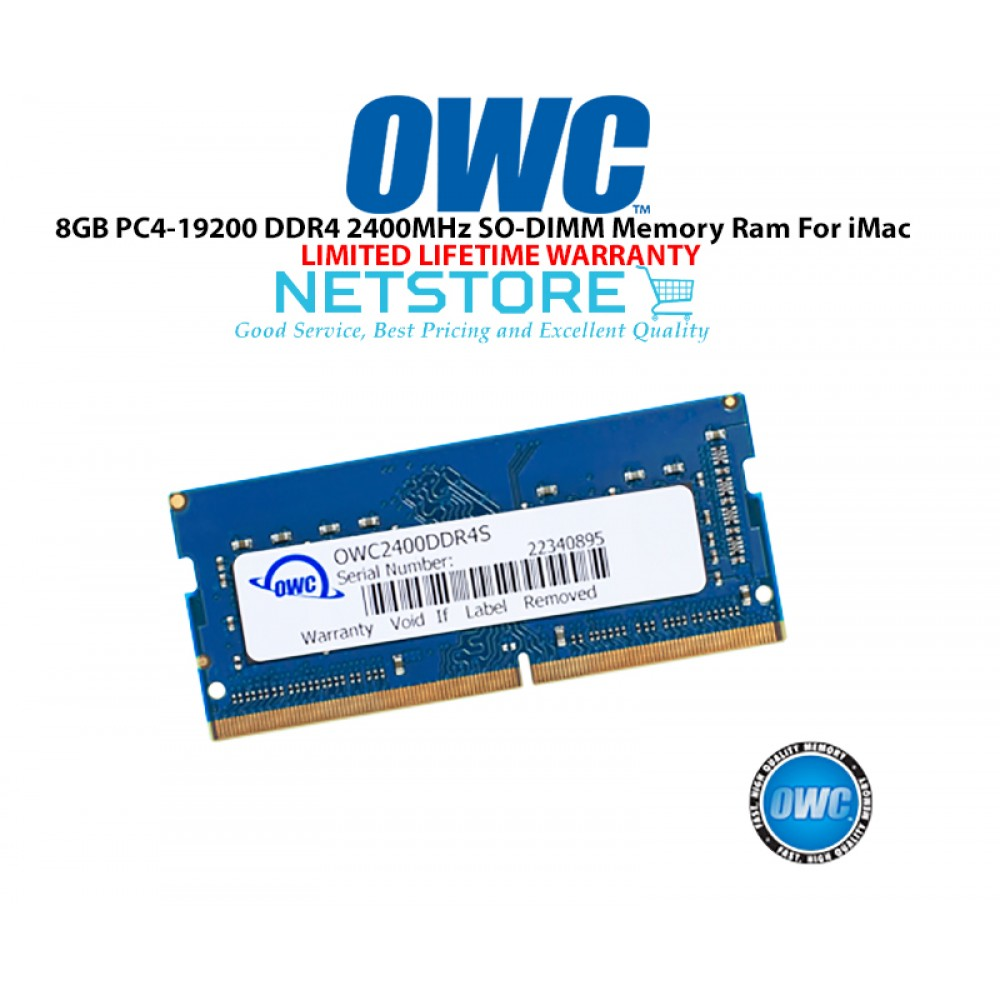 "OWC 8GB PC4-19200 DDR4 2400MHz SO-DIMM 260 Pin CL17 Macbook Ram Memory Upgrade For Mid 2017 iMac 27"" W/ Retina 5K Models And PCs Which Utilize PC4-19200 SO-DIMM Model OWC2400DDR4S8GB"