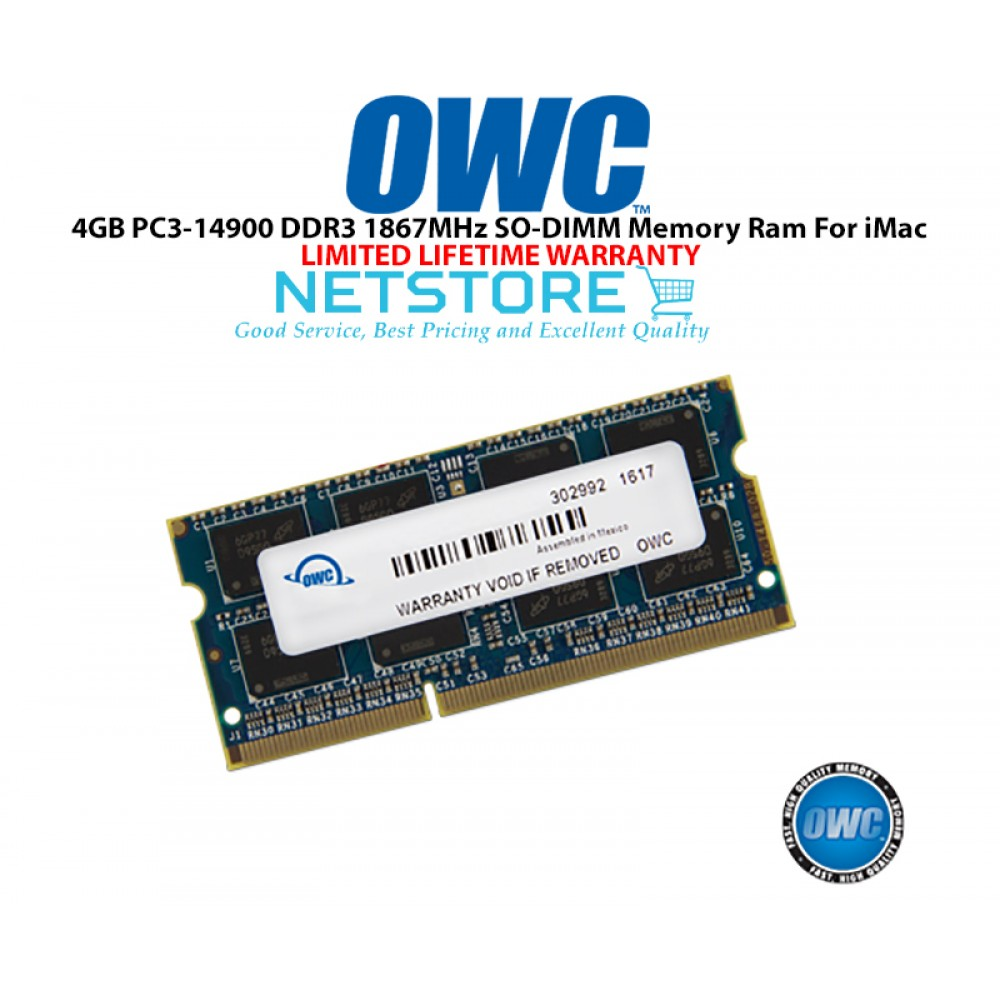 "OWC 4GB PC3-14900 DDR3 1867MHz SO-DIMM 204 Pin CL11 Macbook Ram Memory Upgrade For Mid 2017 iMac 27"" W/ Retina 5K Models And PCs Which Utilize PC3-14900 SO-DIMM Model OWC1867DDR3S4GB"