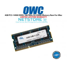 "image of OWC 4GB PC3-14900 DDR3 1867MHz SO-DIMM 204 Pin CL11 Macbook Ram Memory Upgrade For Mid 2017 iMac 27"" W/ Retina 5K Models And PCs Which Utilize PC3-14900 SO-DIMM Model OWC1867DDR3S4GB"
