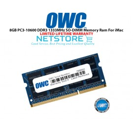 image of OWC 8GB PC3-10600 DDR3 1333MHz SO-DIMM 204 Pin CL9 Macbook Ram Memory Upgrade For Multiple iMac Models And PCs Which Utilize PC3-10600 SO-DIMM Model OWC1333DDR3S8GB